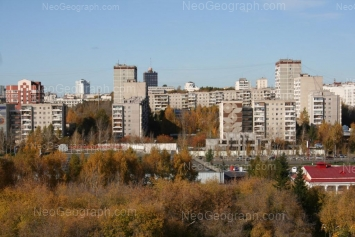 View to: Bolshakova street, 13; Narodnoy voli street, 64 (Метеогорка); Tkachei street, 8; Tkachei street, 11 (Луч, спортивный комплекс); Tkachei street, 12. Yekaterinburg (Sverdlovskaya oblast)